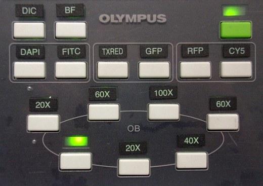 Dálkové ovládání mikroskopu Olympus IX80