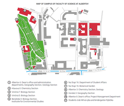 Map of the Campus Albertov
