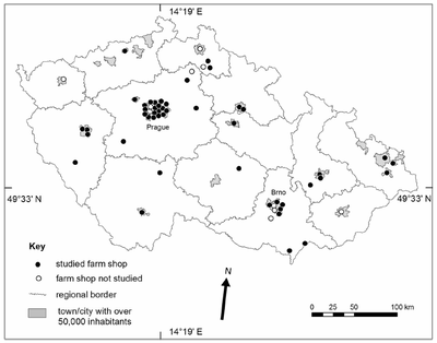 The space distribution of farmer's shops in 2014, source: the author of the study.