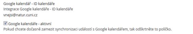 Údaje pro vkládání událostí do Google kalendáře.