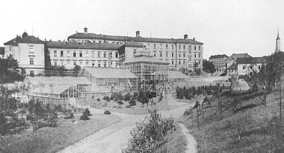 Botanická zahrada byla v dolní části bývalé společenské zahrady Na Slupi zřízena v roce 1899.