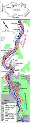 Mapa studované Středočeské vodárenské soustavy