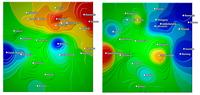 Vnímání rizik (vlevo) a rizikové chování (vpravo) v případě užívání marihuanyNejnižší hodnoty jsou znázorněny modrou barvou, nejvyšší červenou, zdroj ESPAD, 2007