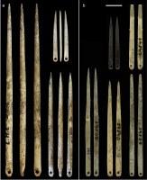 Obr: Jehly nalezené (a) ve Francii, (b) na nalezišti Pekárna na Moravě.