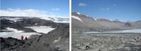 Obrázek 2: studijní lokality antarktické expedice – Rossův ostrov (vlevo) a McMurdovo údolí (vpravo), autor fotografií: T. J. Kohler