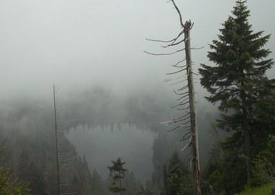 mlha nad Roklanským jezerem