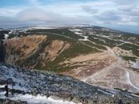 Jak dlouho ještě bude opravdu bez lesa? Pohled ze Sněžky. Zdroj: Autor popularizačního článku.