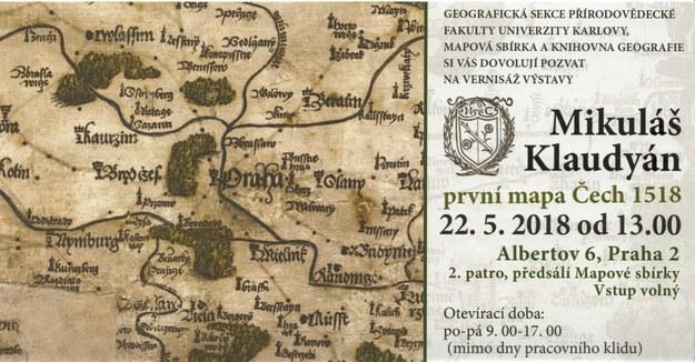 Mikulas Klaudyan Prvni Mapa Cech 1518 Prirodovedecka Fakulta Uk