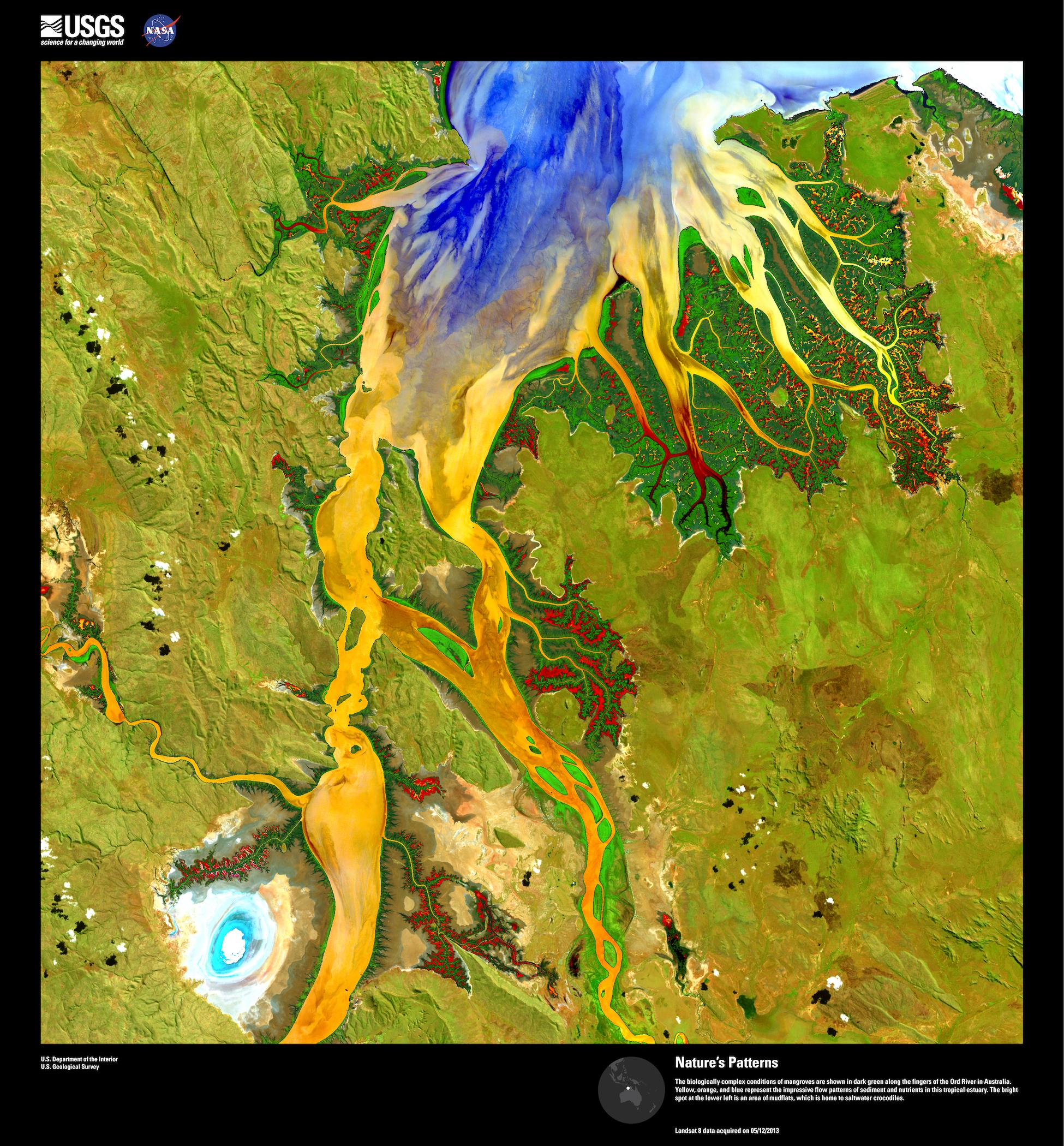Obrázek 12: Satelitní snímek Landsat 8 řeky Old River v Austrálii zobrazená v tzv. nepravých barvách