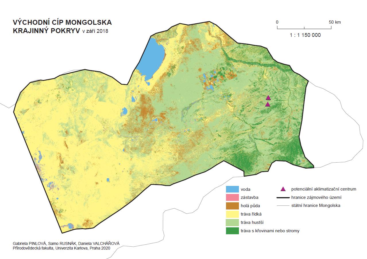 Obrázek 19: Krajinný pokryv východního cípu Mongolska – potenciální nové lokality pro reintrodukci koně Převalského