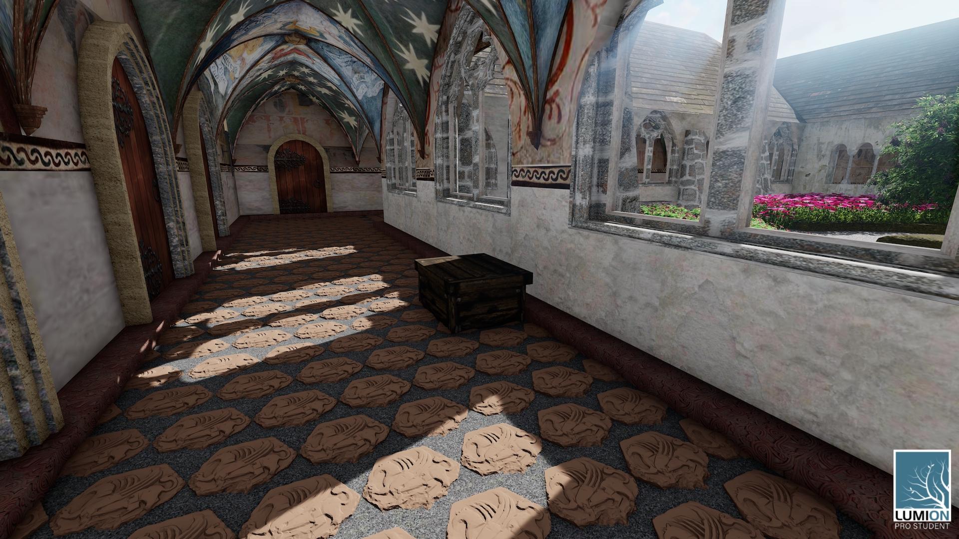 Obrázek 8: Implementace naskenované dlaždice do 3D modelu v podobě podlahy kvadratury